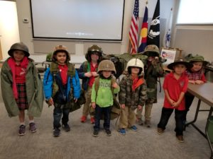 Students dressed up in various military uniforms as part of their school tour to the museum
