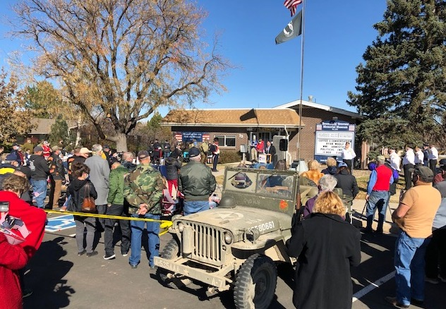 A crowd gathers outside the museum for the Veterans Day Ceremony in 2020.